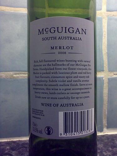 McGuigan Bin 578 Merlot Back Label