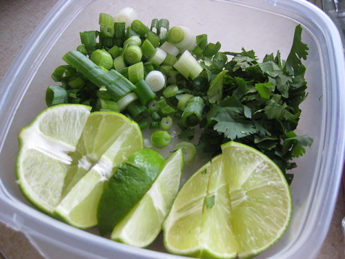 Garnish with lime, green onion and cilantro