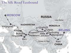 Map of the Silk Road, by train, eastbound