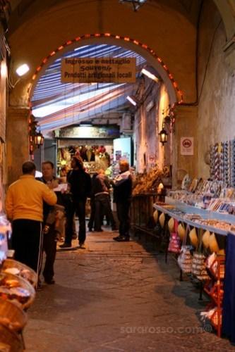 Spaccanapoli, Naples market scene, Italy
