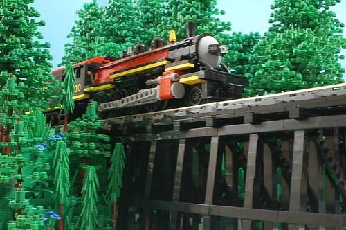 LEGO steam engine on trestle bridge