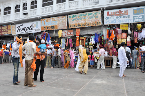 Souvenir market outside the golden temple