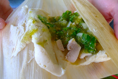 Chicken tomatillo tamale, ready to wrap