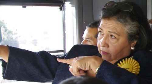 From the cab, L.A. County Supervisor Gloria Molina points out her safety issues with the line to Mayor Villaraigosa.