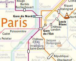 Gare de l'Est - lines 4-5-RATP map