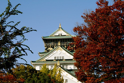 Osaka Castle through the changing leaves