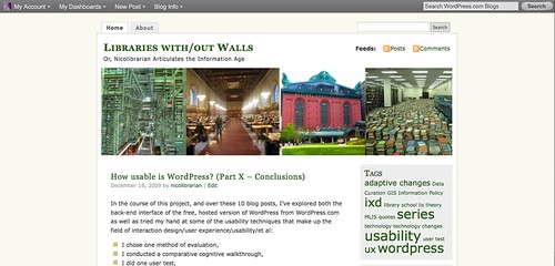 "Original view of blog ""front end"" while logged in"