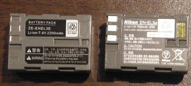 Imitation Battery vs Real Deal (EN-EL3e)