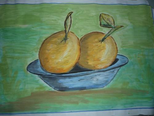 Platos con naranjas
