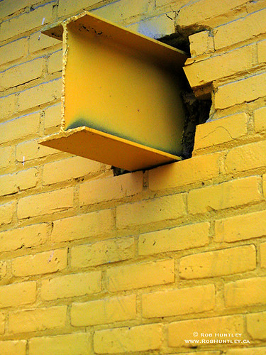 Protruding beam in yellow.