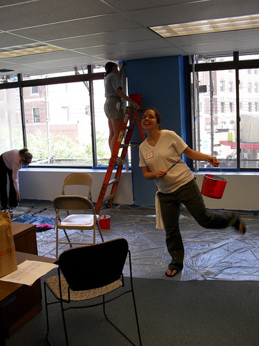 Meaghan, painting the conference room