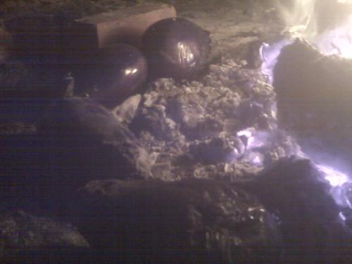 Roasting eggplants by the bonfire