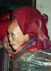 Red Zao woman with shaved forehead; SaPa, Vietnam