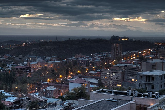 A moody dusk over autumnal Yerevan (HDR)
