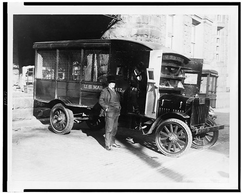 Postmaster General examines new bandit proof truck 1925