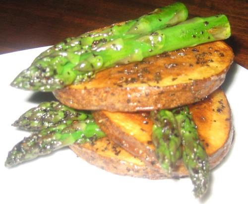 Seared Potatoes, Asparagus