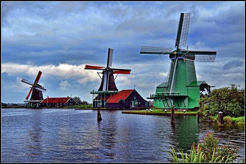Storm Clouds Gather, Windmills, Amsterdam, Netherlands