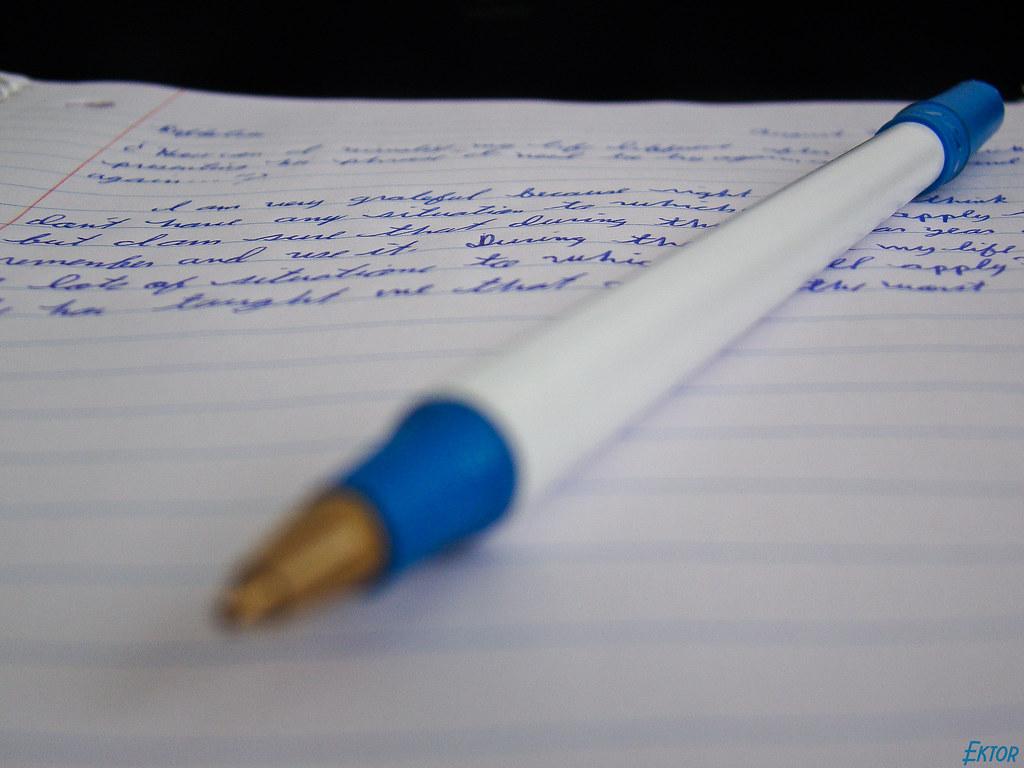 Pen and handwritten passage, original title: Homework