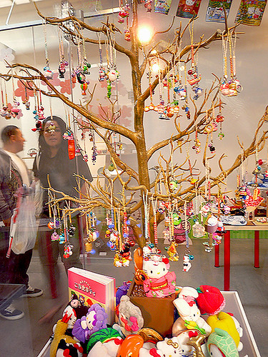 This little tree had tons of Hello Kitty phone straps attached to it from all over Japan!