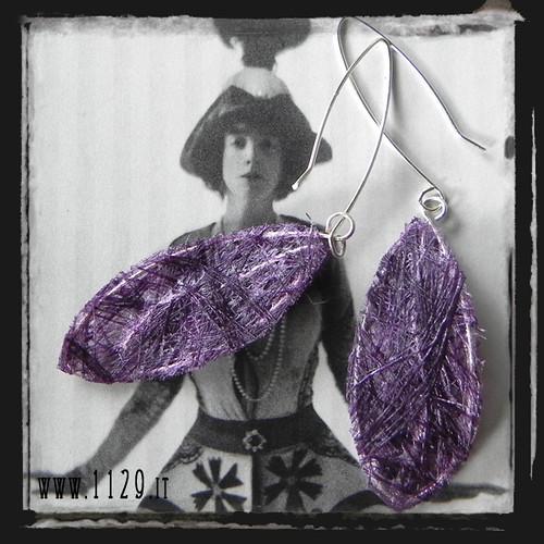 MFVIFO orecchini foglia viola purple leaf silver handmade earrings 1129