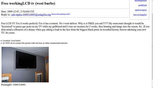 AD for Free Working LCD TV on Craigslist