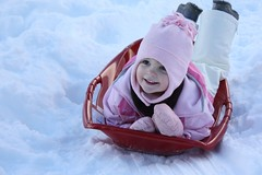 Claire sledding in Lake Tahoe