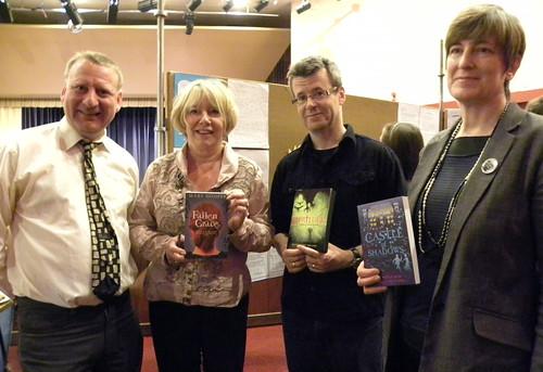 Tony Higginson, Mary Hooper, Jon Mayhew and Ellen Renner at Sefton Super Reads