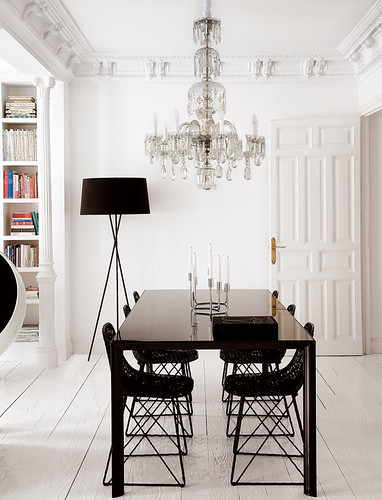 Statement Lighting White Dining Area Room with Black Furniture and Modern Contemporary Crystal Chandelier