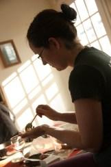 Annie making potstickers
