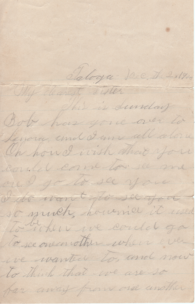 December 2, 1900 Pauline to Freeta Page 1