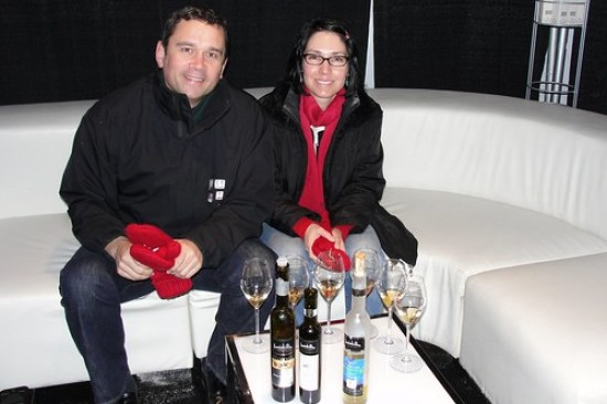 Mike & Stacey are served Inniskillin Icewine at Richomond's O Zone