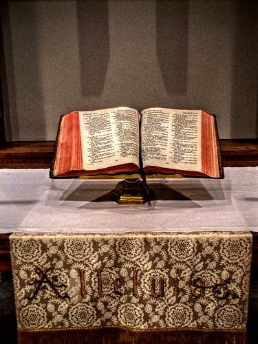 Bible on alter
