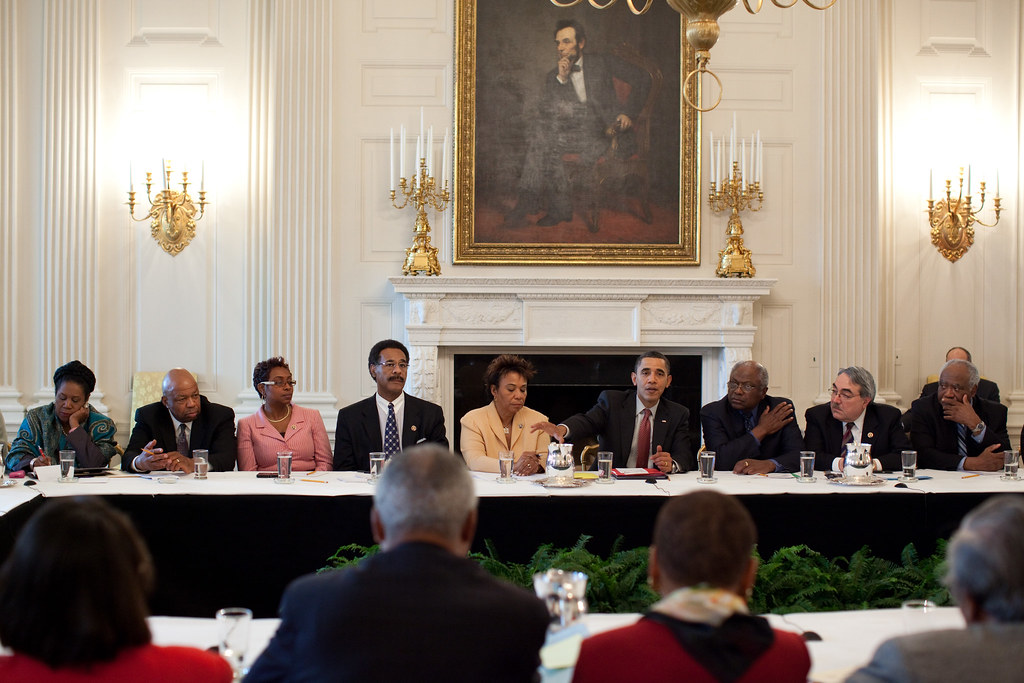 President Barack Obama meeting with the Congressional Black Caucas