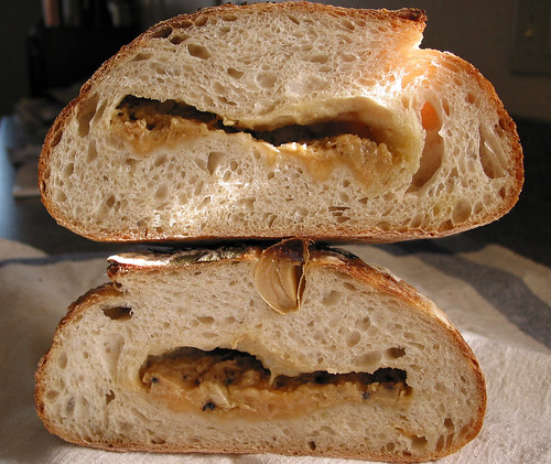 roasted garlic sourdough crumb