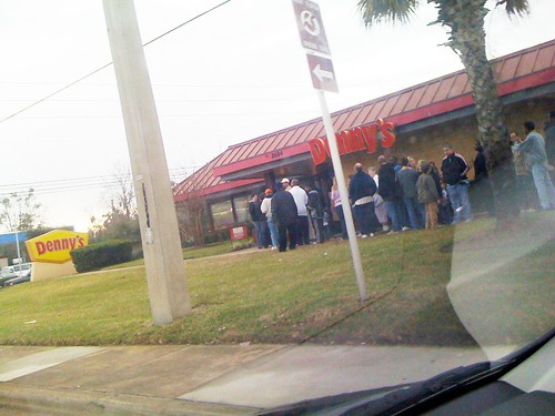 Denny's Customers Line Up for Grand Slam Breakfast Event