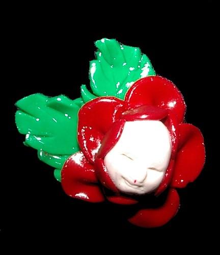 baby flower fairy rose brooch