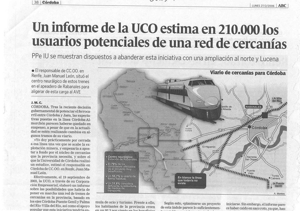 Informe sobre Cercanías de la Universidad de Córdoba realizado año 2003.