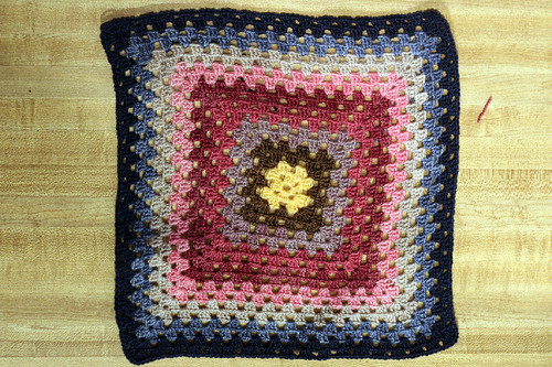 My granny square grows.. but skewed...