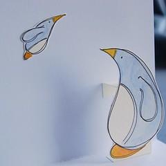 penguin pop-up xmas card pf01