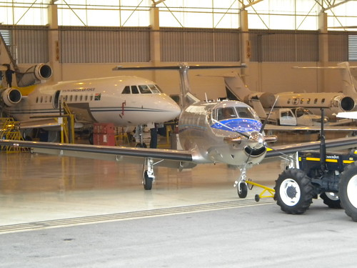 Private charter plane in hanger