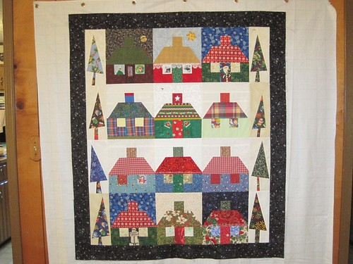 Christmas Cottage swap blocks with whimsical Christmas trees