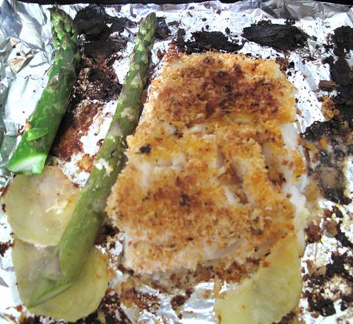 Baked breadcrumbed cod with potatoes & mexican asparagus 2