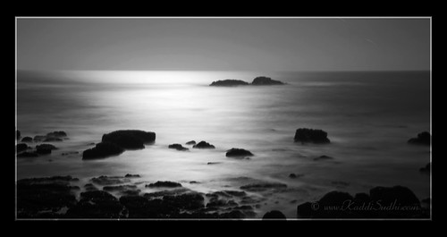 Pacific Coast lit by moon light