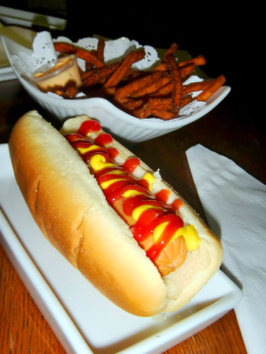 Free hot dog comes with mayo, ketchup, onions and a big smile from the server! (No, they don't treat you like some cheapskate crazy if you ask for multiple=