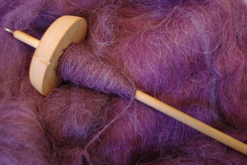 Spindle with Llama Fiber