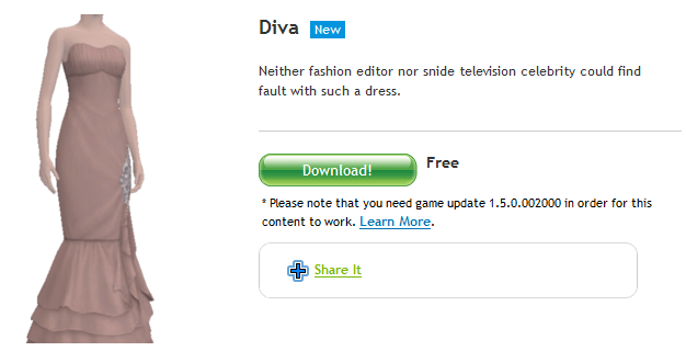 "Free Sims 3 download ""Diva"" dress"