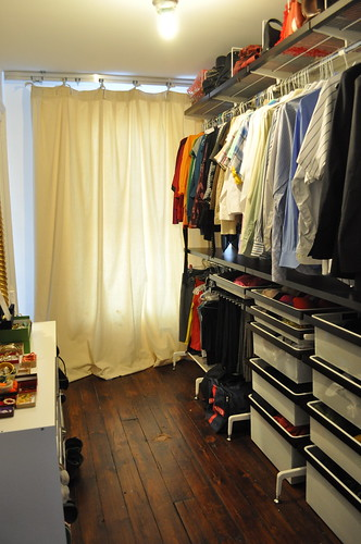 finished closet with curtain