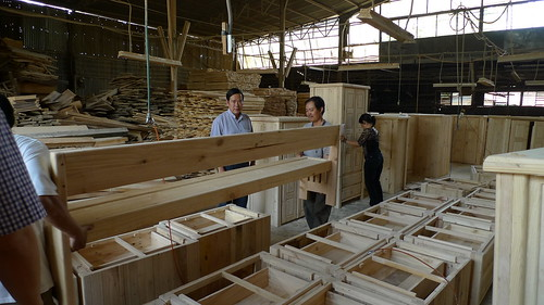 church pews at a manufacturing shop in viet nam