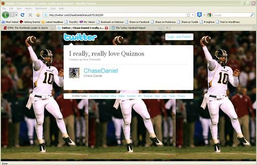 Chase Daniel Loves Quizno's