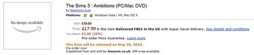 Amazon UK - Pre-order The Sims 3 Ambitions